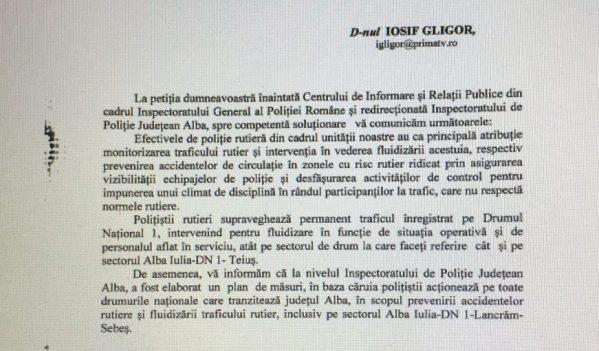 IPJ Alba promite fluidizarea traficului intre Sebes si Alba Iulia!