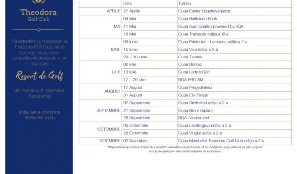 Calendarul competitional Theodora Golf Club 2019